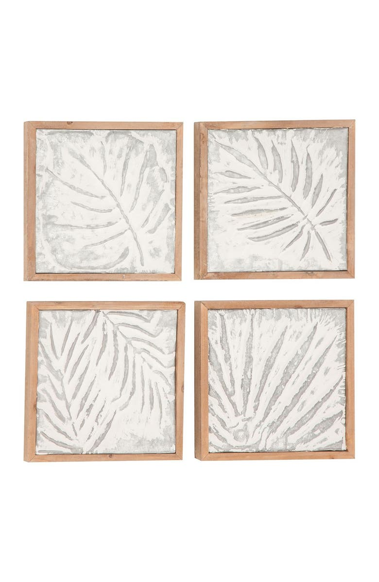 WILLOW ROW Brown/White Wood Metal Wall Art - Set of 4, Main, color, BROWN WHITE