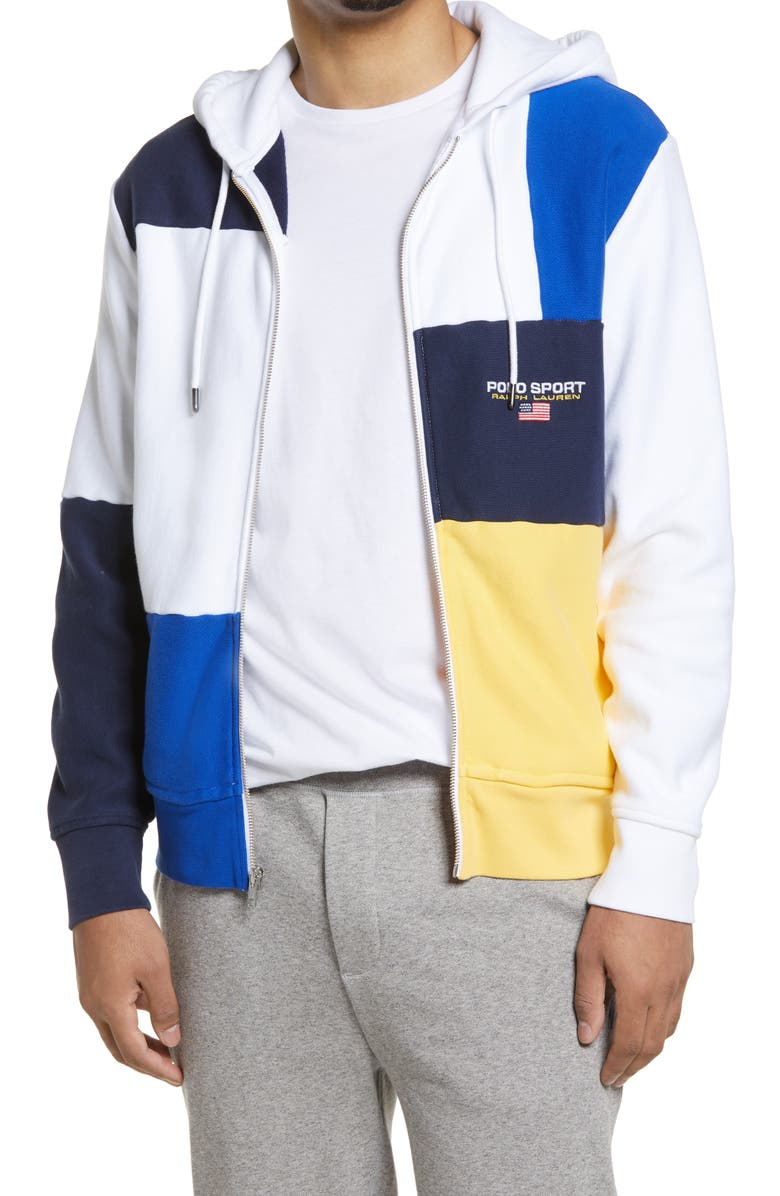 POLO RALPH LAUREN Colorblock Zip Hoodie, Main, color, WHITE MULTI