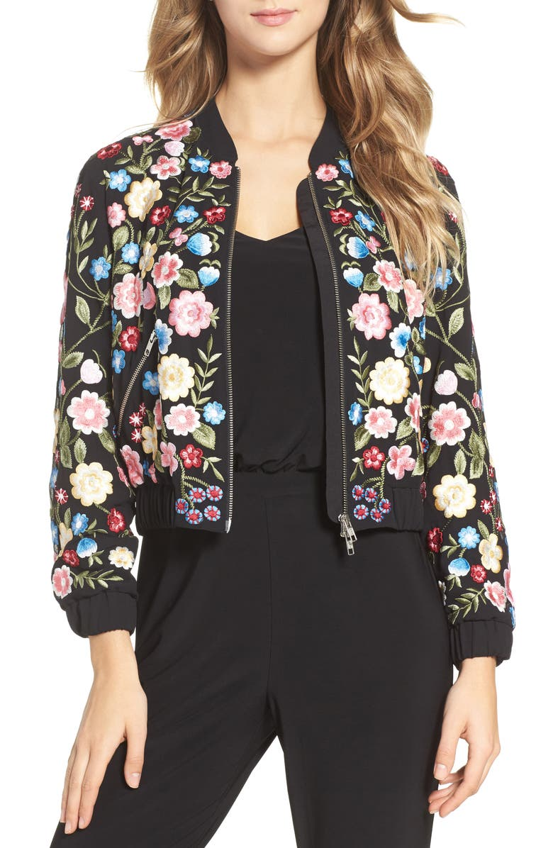 NEEDLE & THREAD Flower Foliage Embroidered Bomber Jacket, Main, color, 001