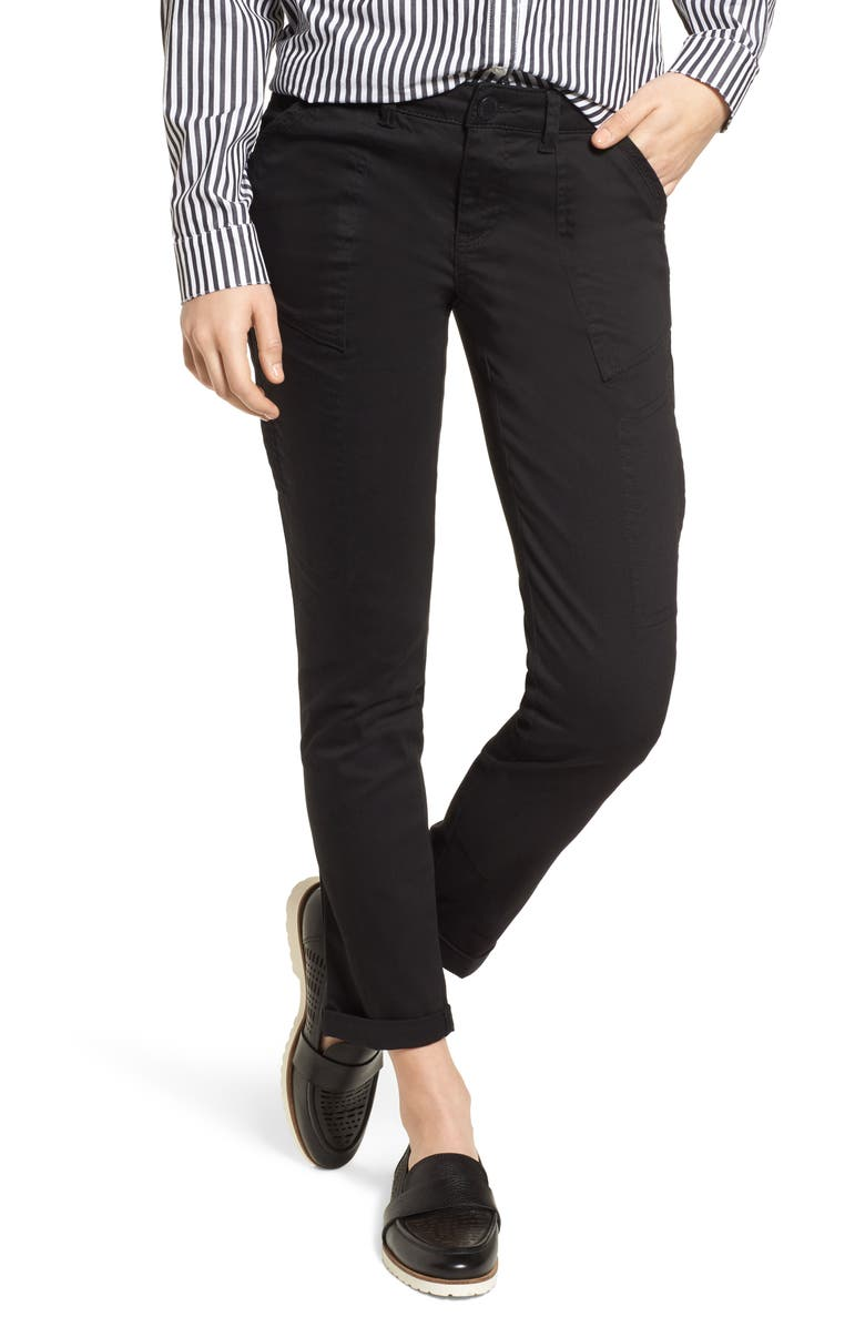WIT & WISDOM Twill Cargo Pants, Main, color, 001