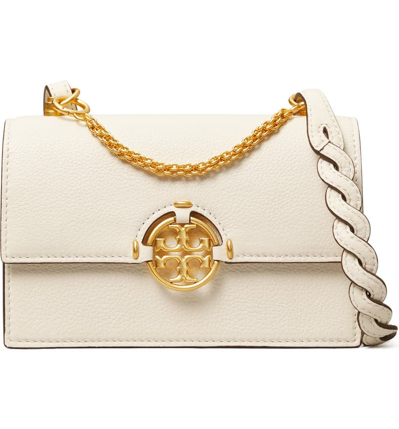 TORY BURCH Miller Mini Leather Crossbody Bag, Main, color, NEW IVORY