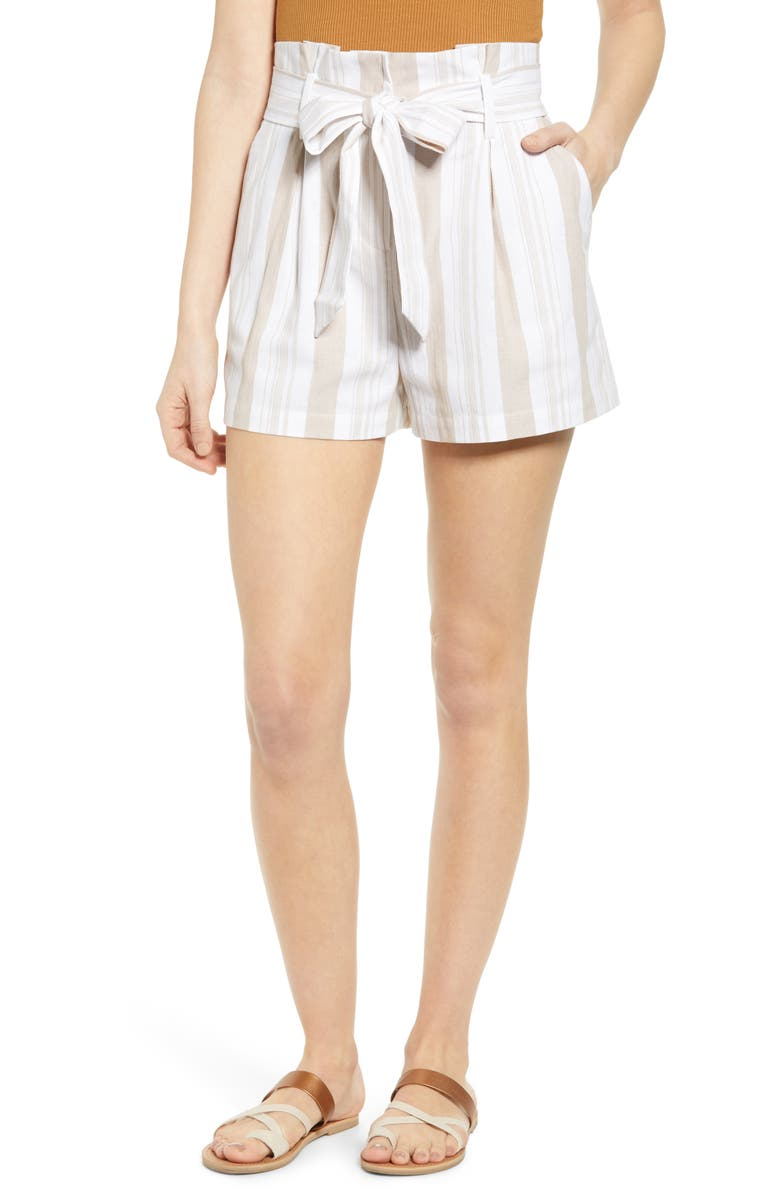 SOCIALITE Belted Stripe Paperbag Waist Shorts, Main, color, 250
