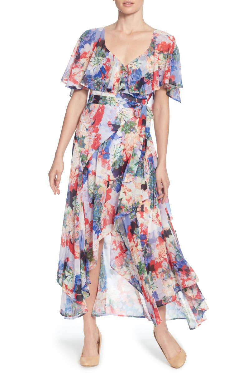 CATHERINE CATHERINE MALANDRINO Jos Floral Capelet Wrap Dress, Main, color, SPRING BLOOMS