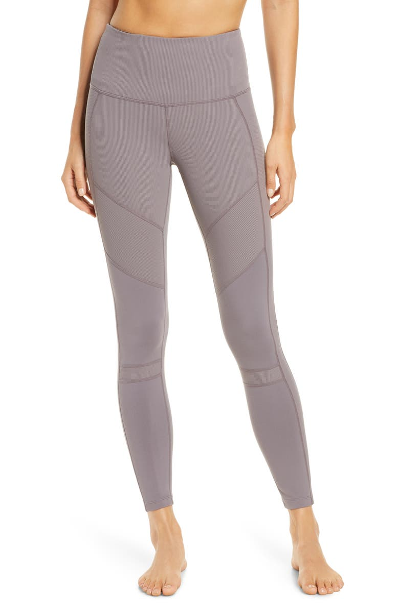 ZELLA Moto Ribbed High Waist Ankle Leggings, Main, color, GREY TRUFFLE