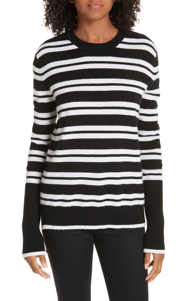 LA LIGNE Le Ligne Tripe Stripe Cashmere Sweater, Main, color, 001