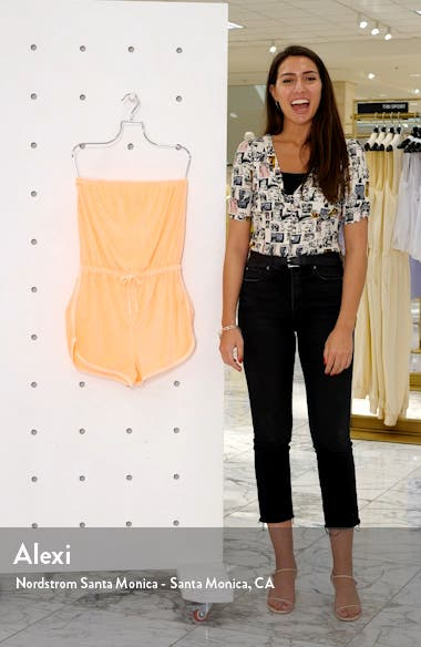 Strapless Velour Cover-Up Romper, sales video thumbnail