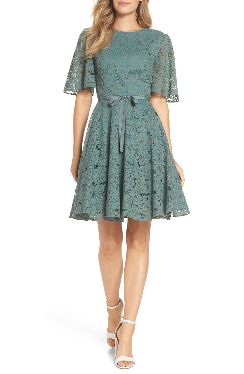 GAL MEETS GLAM COLLECTION Harper Lace Fit & Flare Dress, Main, color, Green