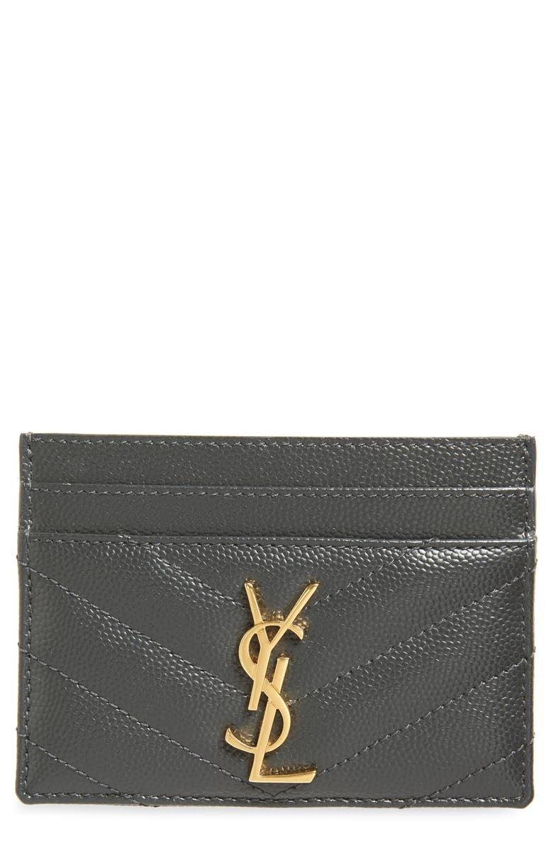 SAINT LAURENT Monogram Quilted Leather Credit Card Case, Main, color, 021
