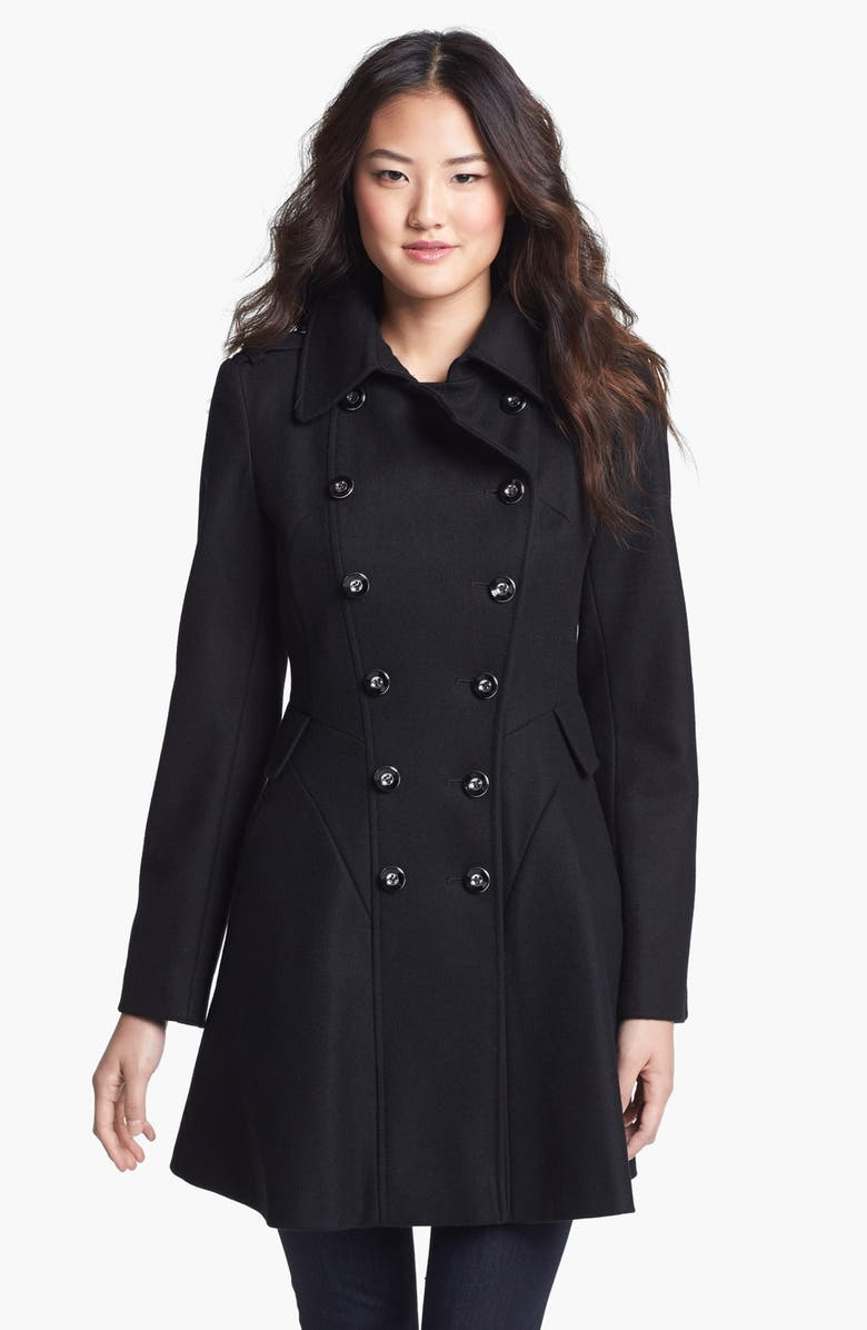 VIA SPIGA Double Breasted Wool Blend Military Coat, Main, color, 001