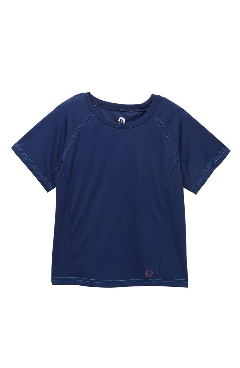 JR. SWIM Solid Swim Tee with Contrast Stitching, Main, color, NAVY/RED