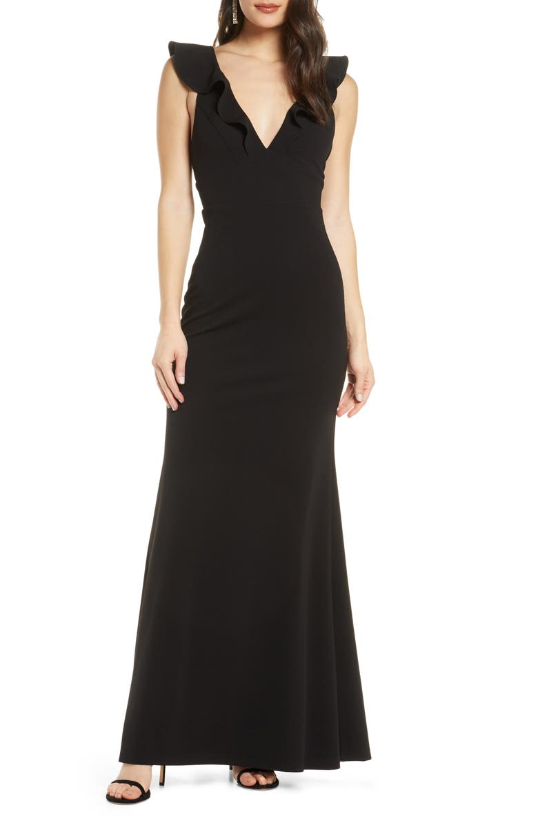 LULUS Perfect Opportunity Ruffle Trumpet Gown, Main, color, 001