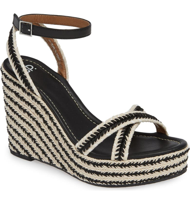 BP. Gabby Woven Wedge Sandal, Main, color, BLACK WOVEN