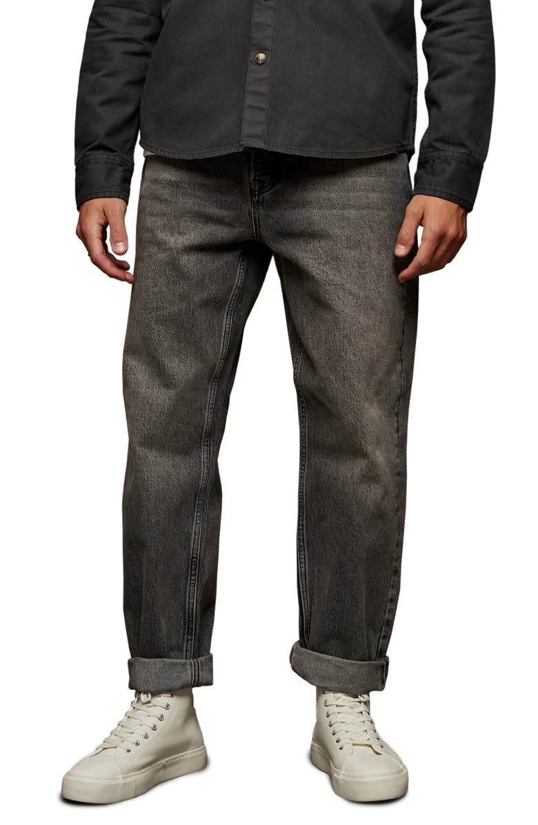 TOPMAN Relaxed Fit Straight Leg Jeans, Main, color, GREY