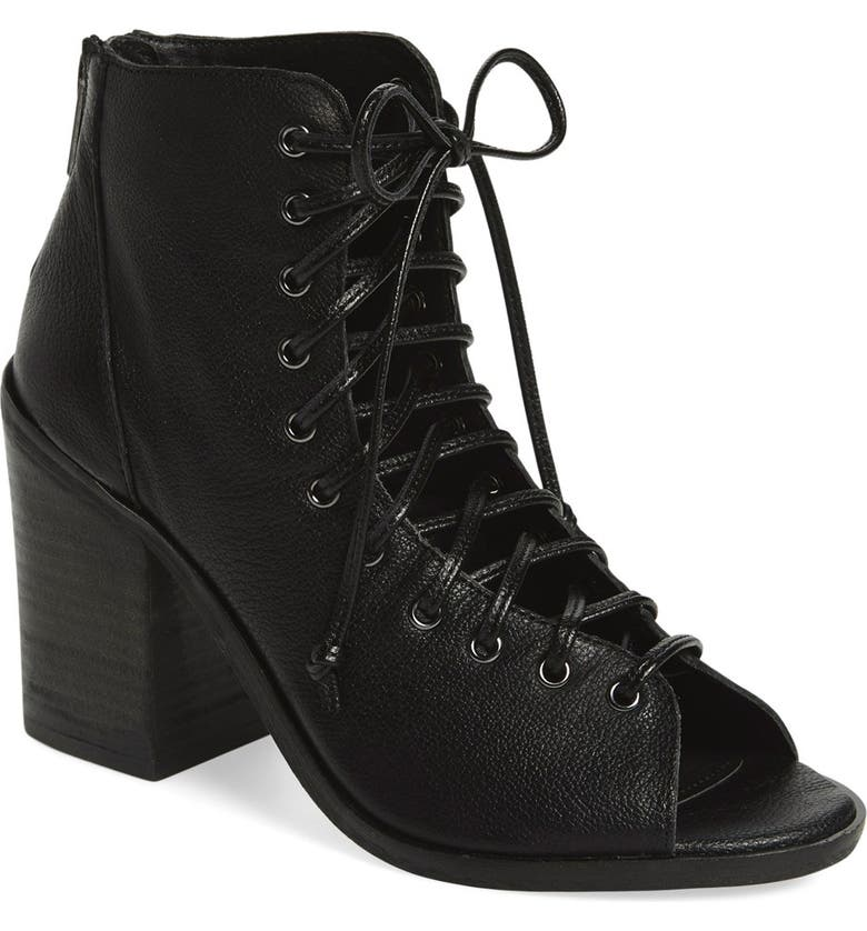 STEVE MADDEN 'Tempting' Lace-Up Bootie, Main, color, BLACK LEATHER
