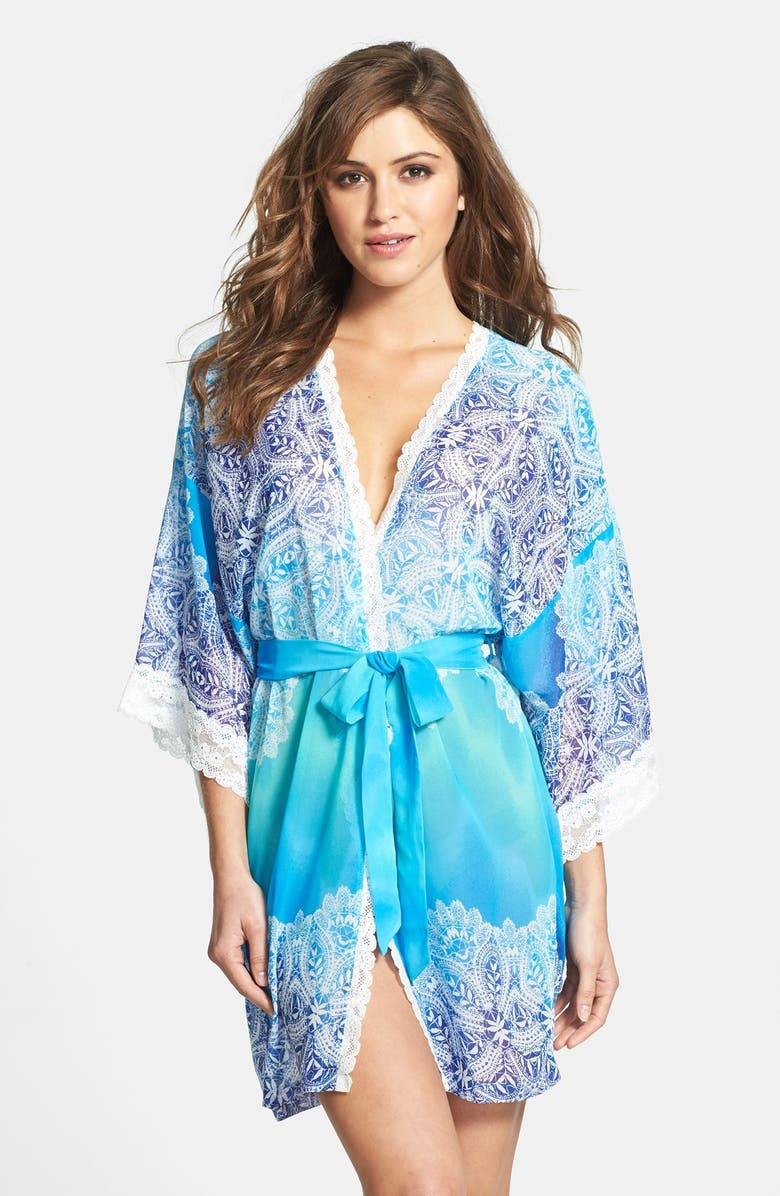 IN BLOOM BY JONQUIL 'Bella Blue' Lace Trim Ombré Robe, Main, color, BLUE PRINT