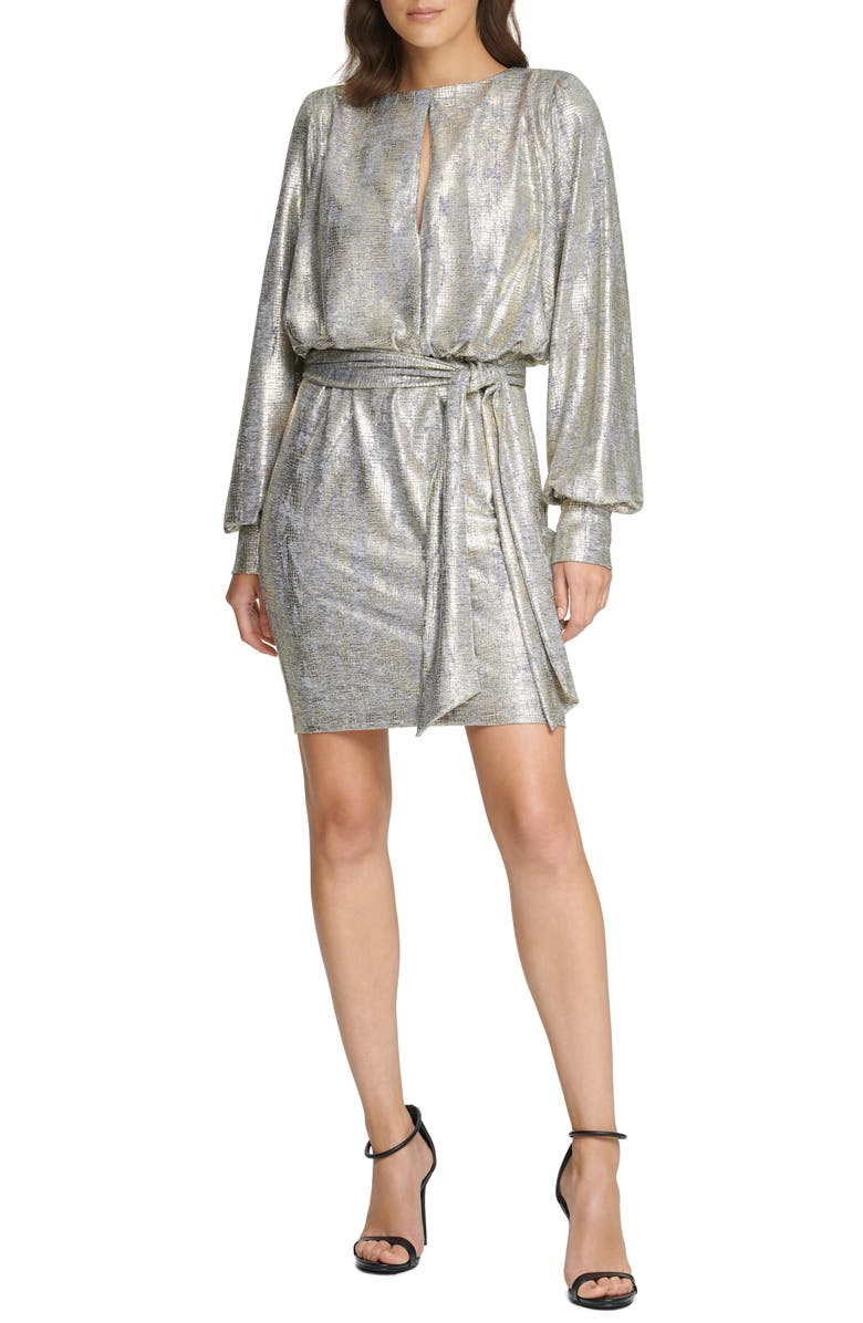 VINCE CAMUTO Metallic Long Sleeve Cocktail Dress, Main, color, GOLD
