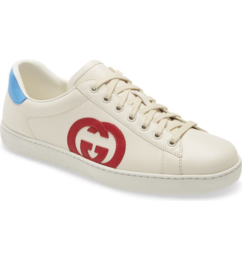 GUCCI New Ace Logo Low Top Sneaker, Main, color, MYSTIC WHITE