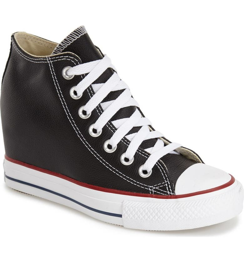 CONVERSE Chuck Taylor<sup>®</sup> All Star<sup>®</sup> 'Lux' Hidden Wedge High Top Sneaker, Main, color, 001