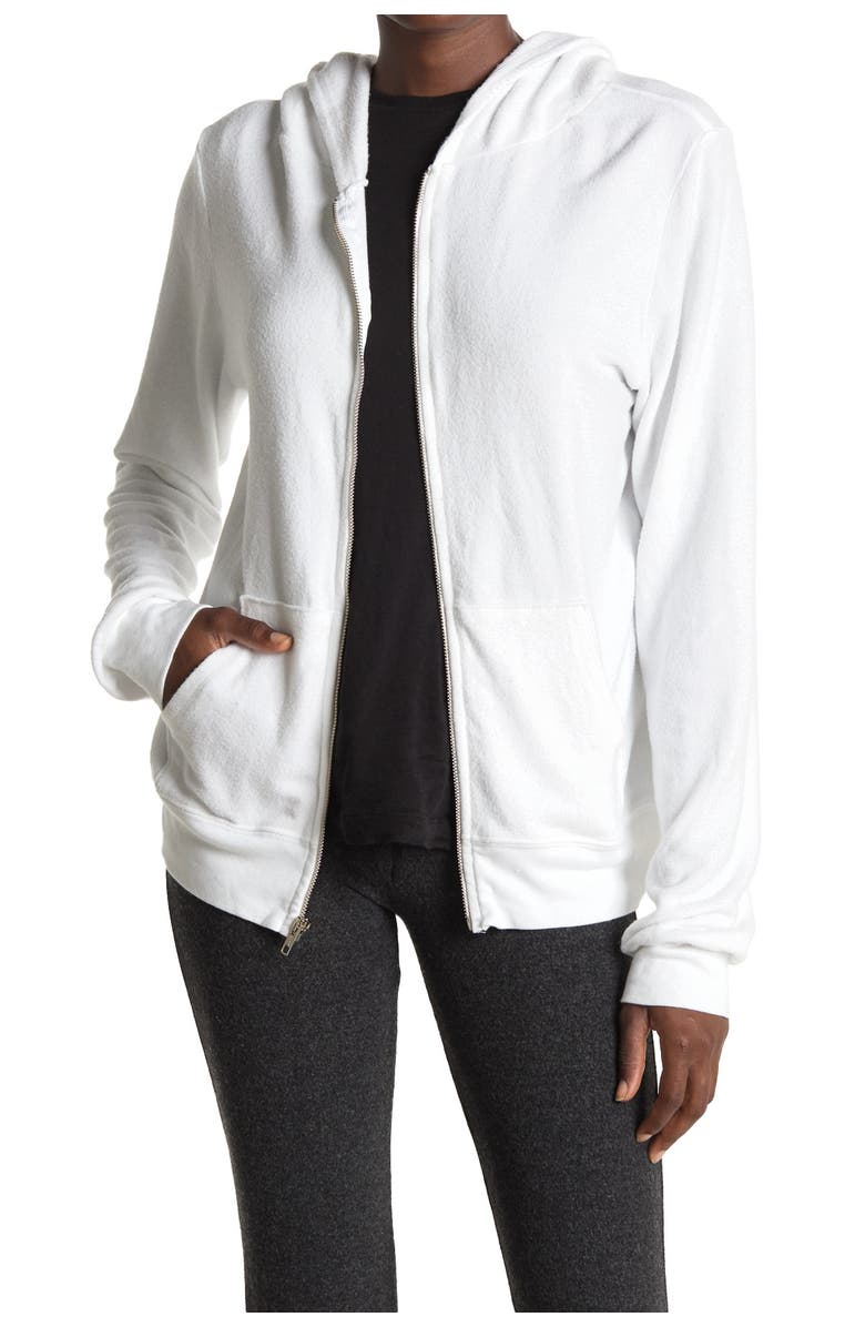 WILDFOX Solid Zip Front Brushed Knit Hoodie, Main, color, CLEAN WHITE