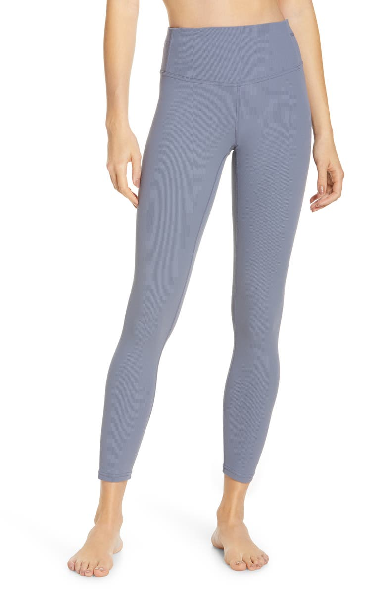ZELLA Pirouette High Waist Rib Ankle Leggings, Main, color, GREY FOLKSTONE