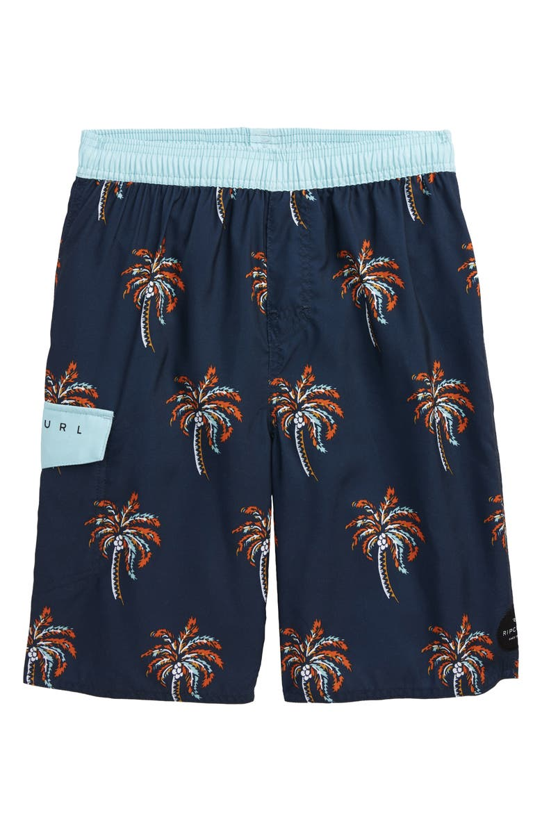 RIP CURL Kids' Palm Days Volley Shorts, Main, color, NAVY