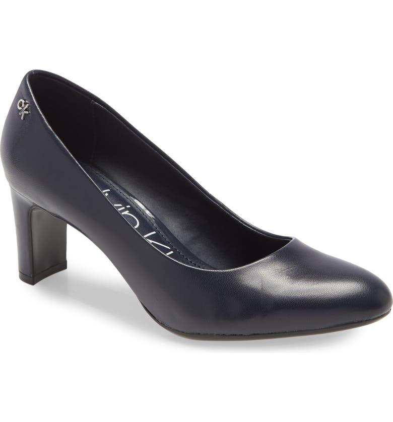 CALVIN KLEIN Oksa Pump, Main, color, DEEP NAVY LEATHER