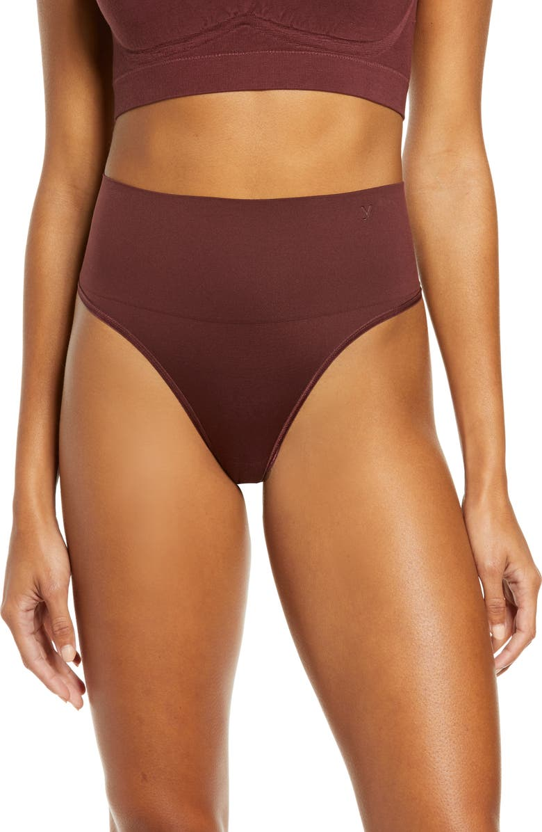 YUMMIE Ultralight Seamless Shaping Thong, Main, color, DECADENT CHOCOLATE