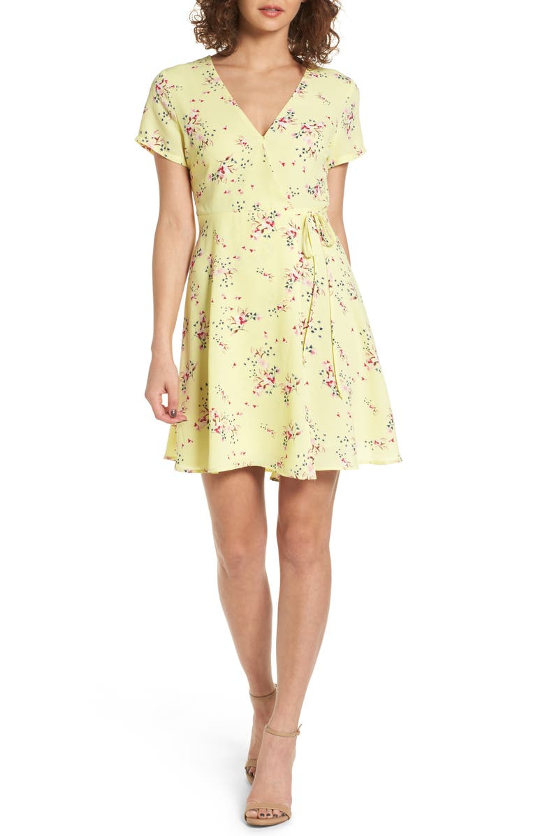 ALL IN FAVOR Olivia Wrap Dress, Main, color, DUSTY YELLOW