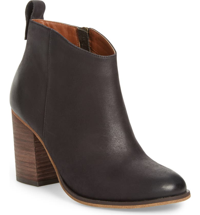 BP. Lance Block Heel Bootie, Main, color, BLACK BURNISHED LEATHER