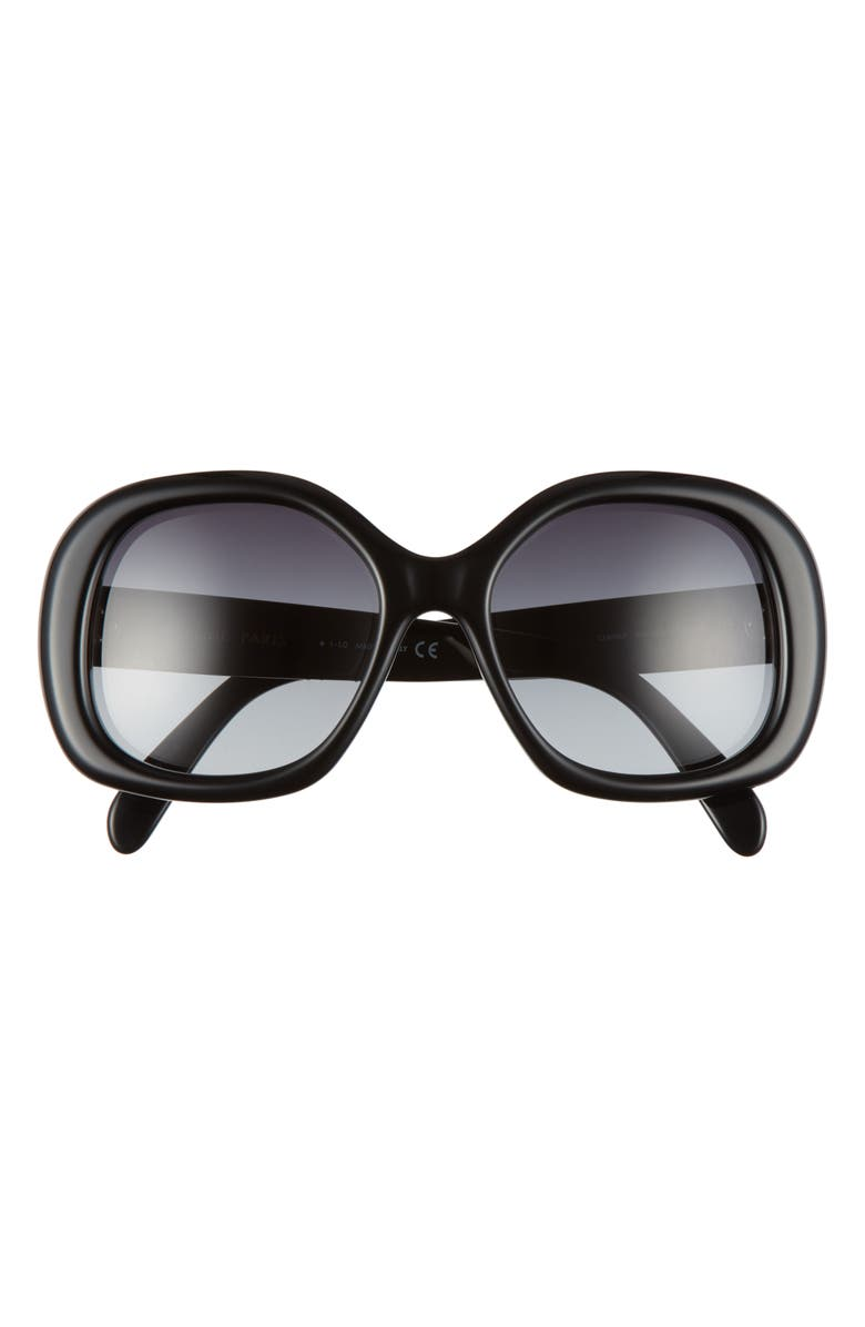 CELINE 55mm Gradient Round Sunglasses, Main, color, SHINY BLACK/ GRADIENT SMOKE