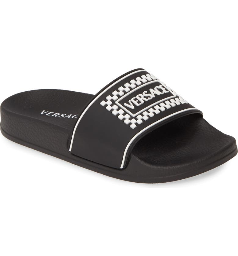 VERSACE '90s Vintage Logo Slide Sandal, Main, color, 001