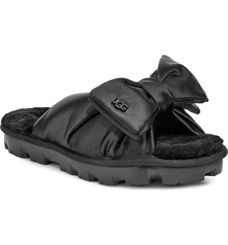UGG<SUP>®</SUP> Lushette Puffer Genuine Shearling Slide, Main, color, 001