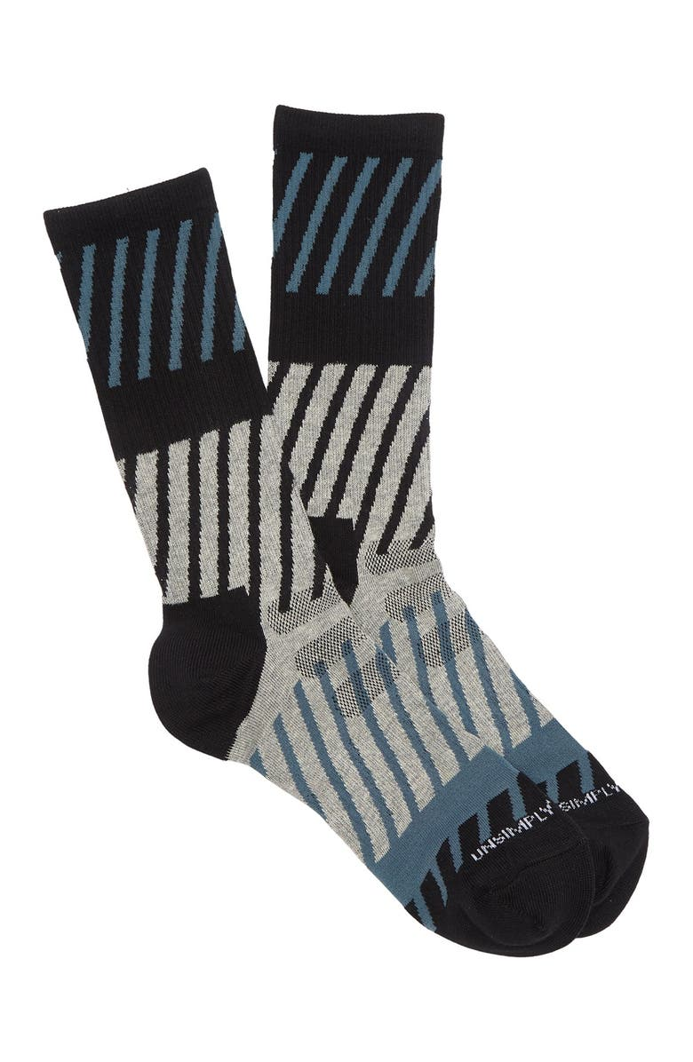 UNSIMPLY STITCHED Diagonal Wave Athletic Crew Socks, Main, color, GREY MULTI