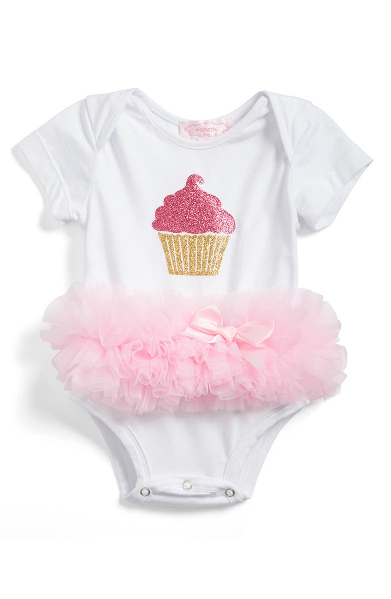 POPATU Cupcake Tutu Skirted Bodysuit, Main, color, 100