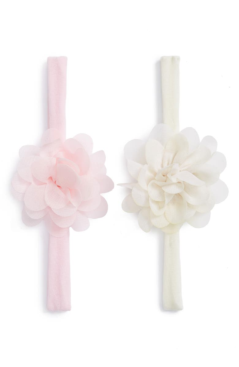 BABY BLING Set of 2 Mini Flower Headbands, Main, color, IVORY/ PINK