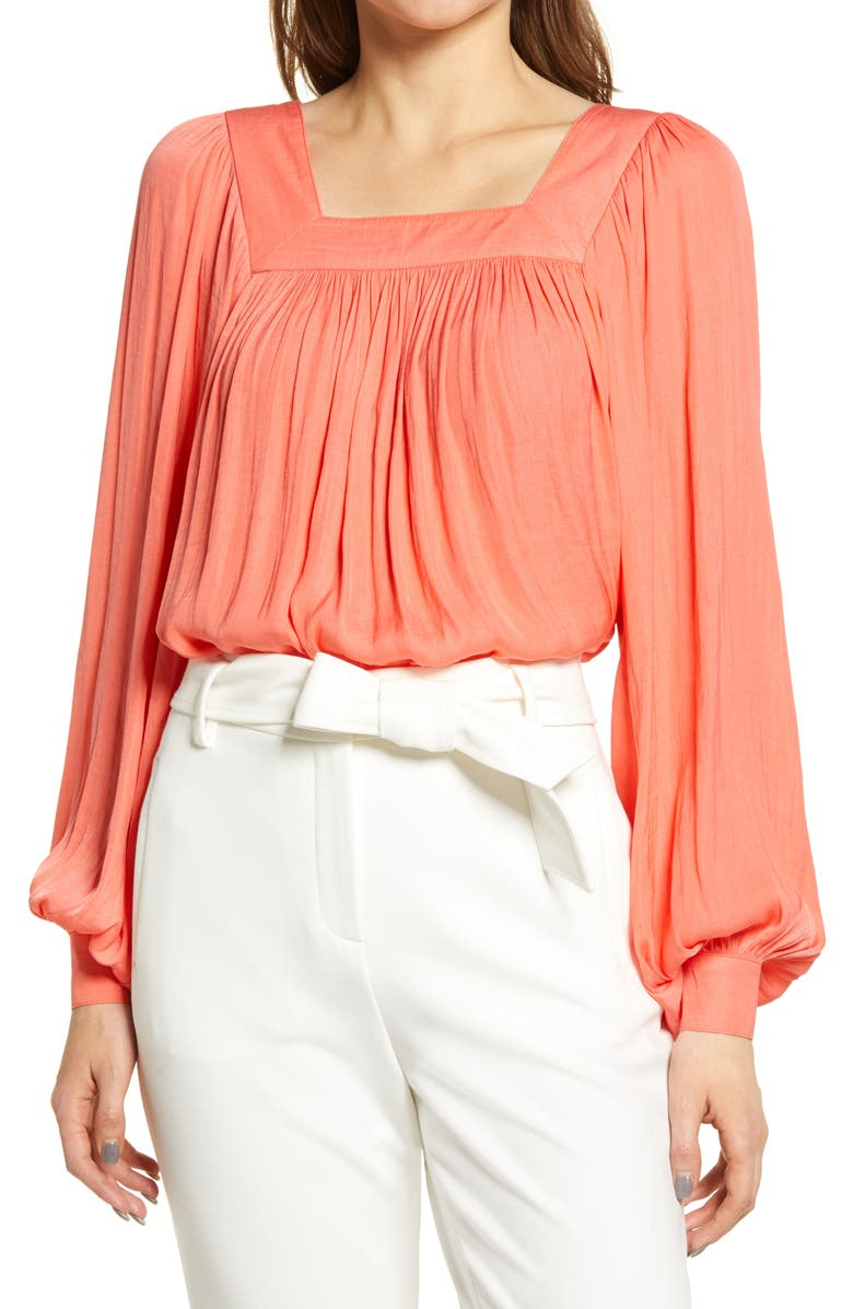 HALOGEN<SUP>®</SUP> Washed Satin Long Sleeve Top, Main, color, CORAL GLOW