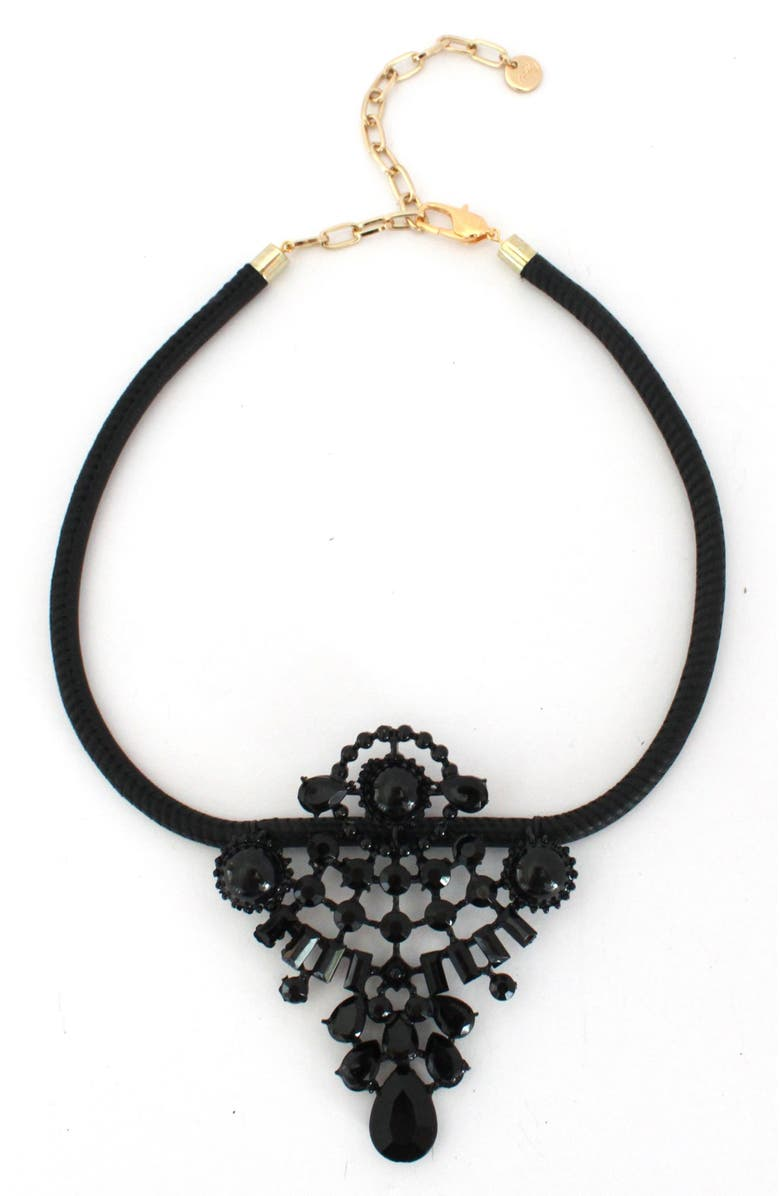 KNOTTY Leather & Crystal Statement Necklace, Main, color, BLACK