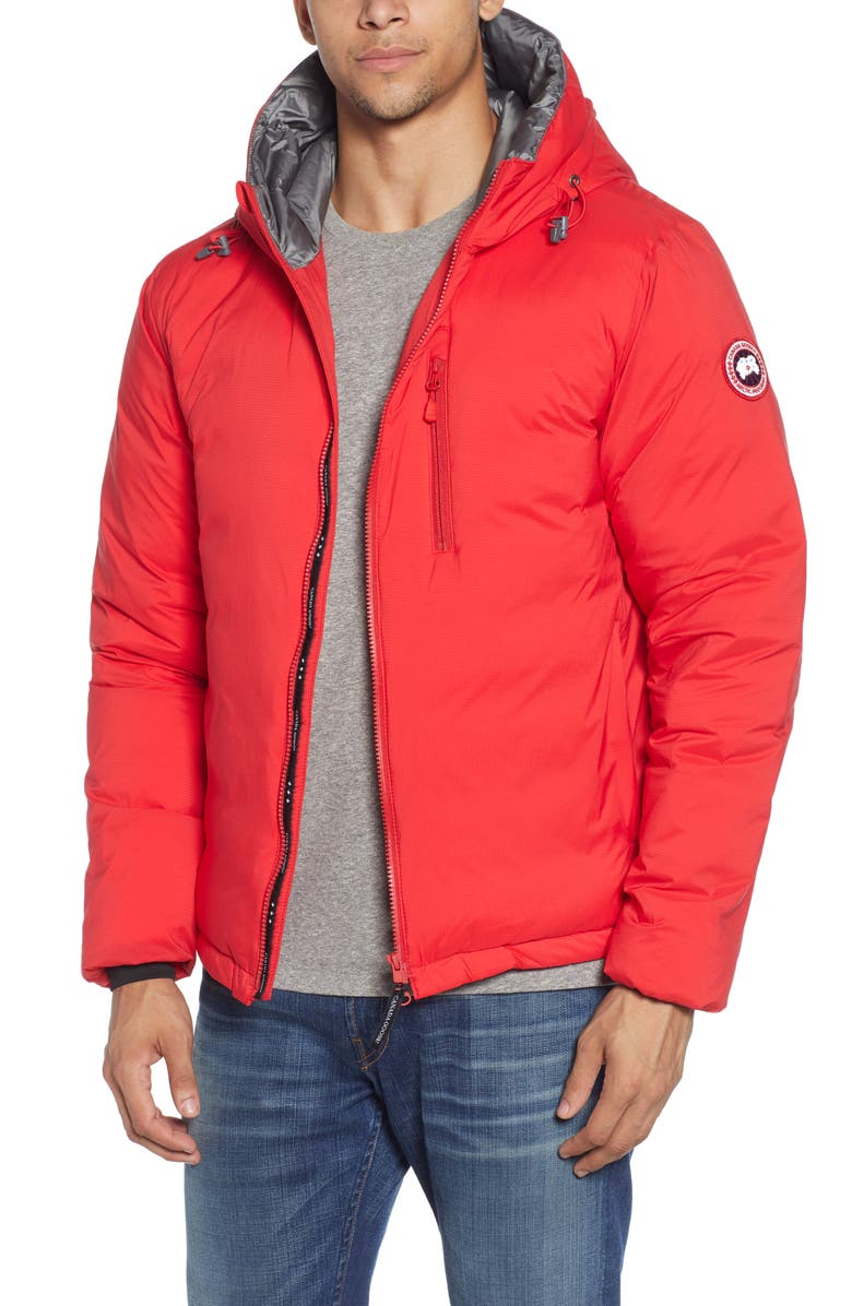 CANADA GOOSE Lodge Packable Windproof 750 Fill Power Down Hooded Jacket, Main, color, RED