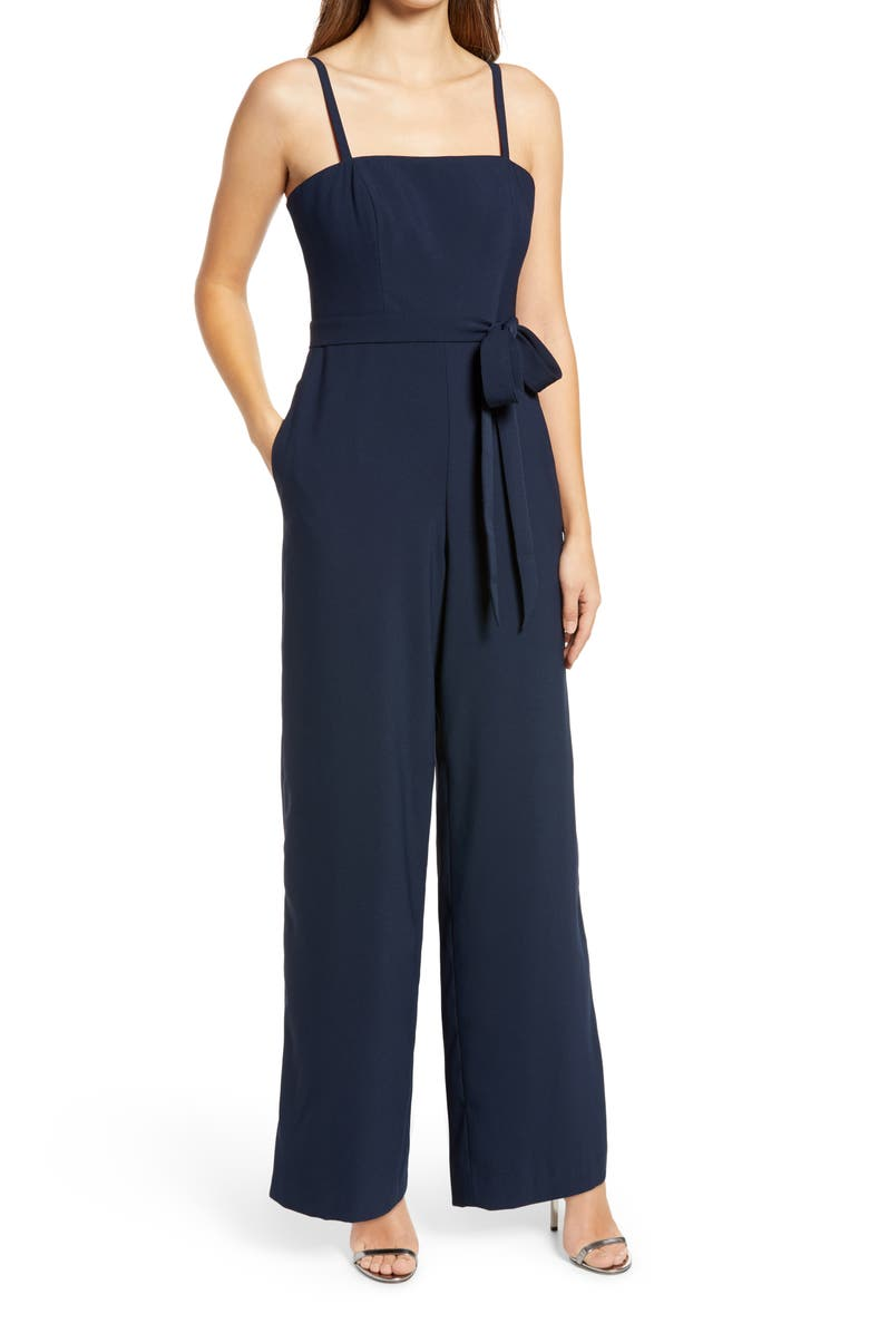 DESSY COLLECTION Alana Crepe Wide Leg Jumpsuit, Main, color, MIDNIGHT
