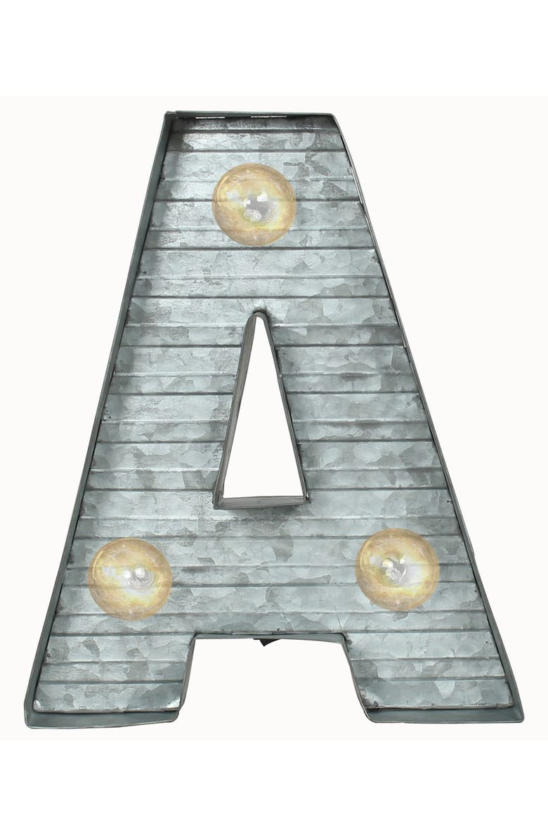 CRYSTAL ART GALLERY LED Metal Marquee Letter Light, Main, color, SILVER - A