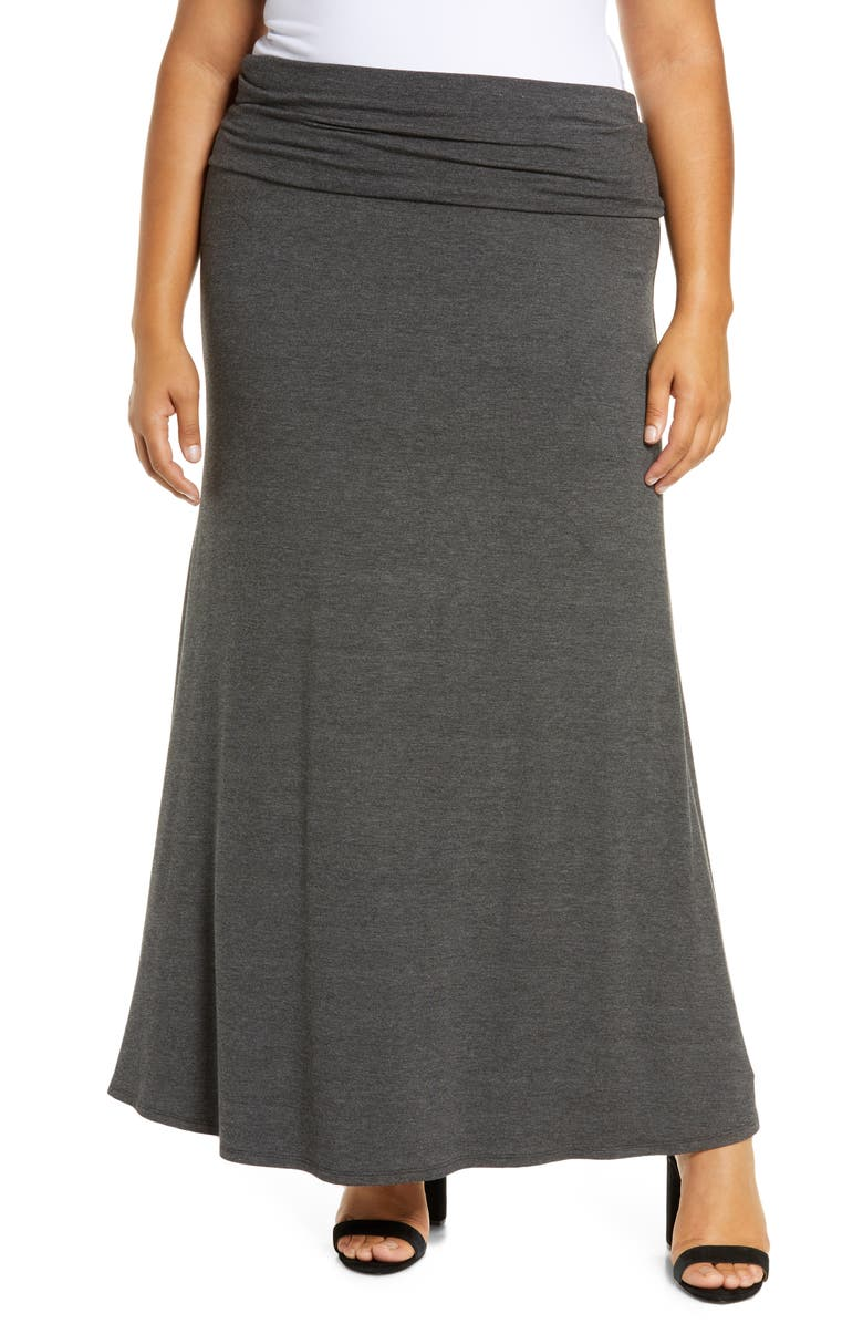 LOVEAPPELLA Fold Over Maxi Skirt, Main, color, CHARCOAL