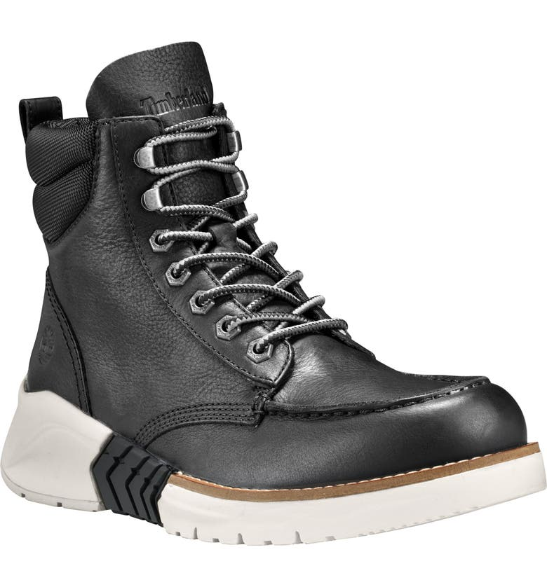 TIMBERLAND Moc Toe Boot, Main, color, BLACK LEATHER