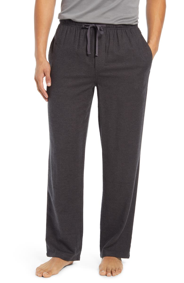 NORDSTROM Flannel Pajama Pants, Main, color, CHARCOAL HERRINGBONE
