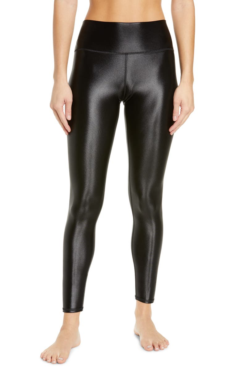 ALO Shine High Waist Leggings, Main, color, BLACK SHINE