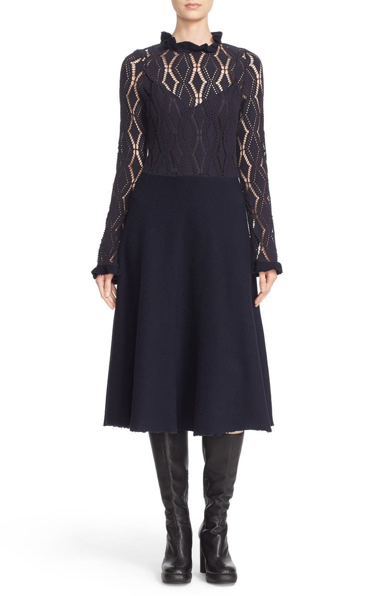 SEE BY CHLOÉ Long Sleeve Jersey Lace Overlay Dress, Main, color, NAVY
