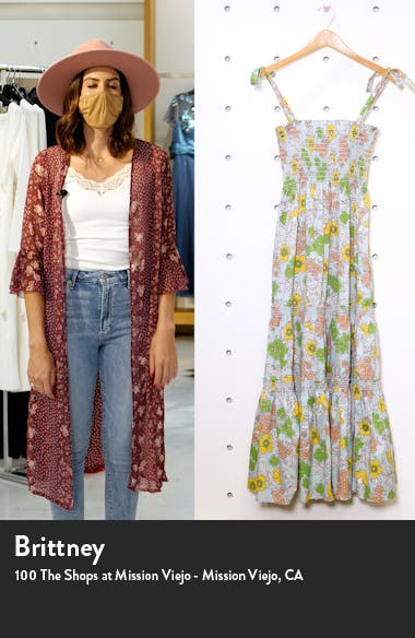 Floral Print Tie Shoulder Midi Cover-Up Dress, sales video thumbnail