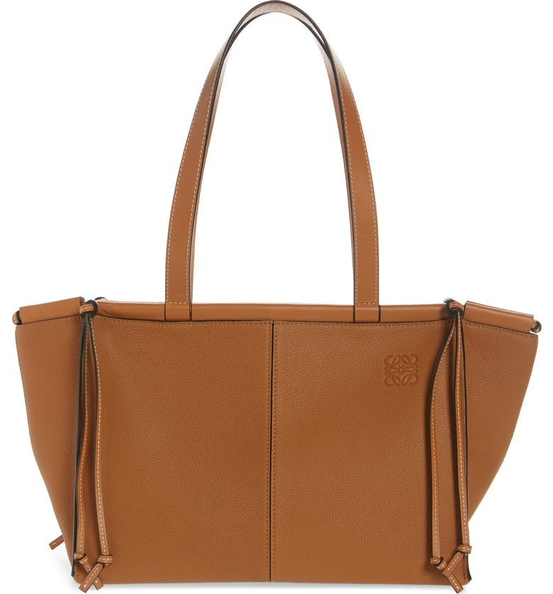 LOEWE Small Cushion Leather Convertible Gusset Tote, Main, color, LIGHT CARAMEL