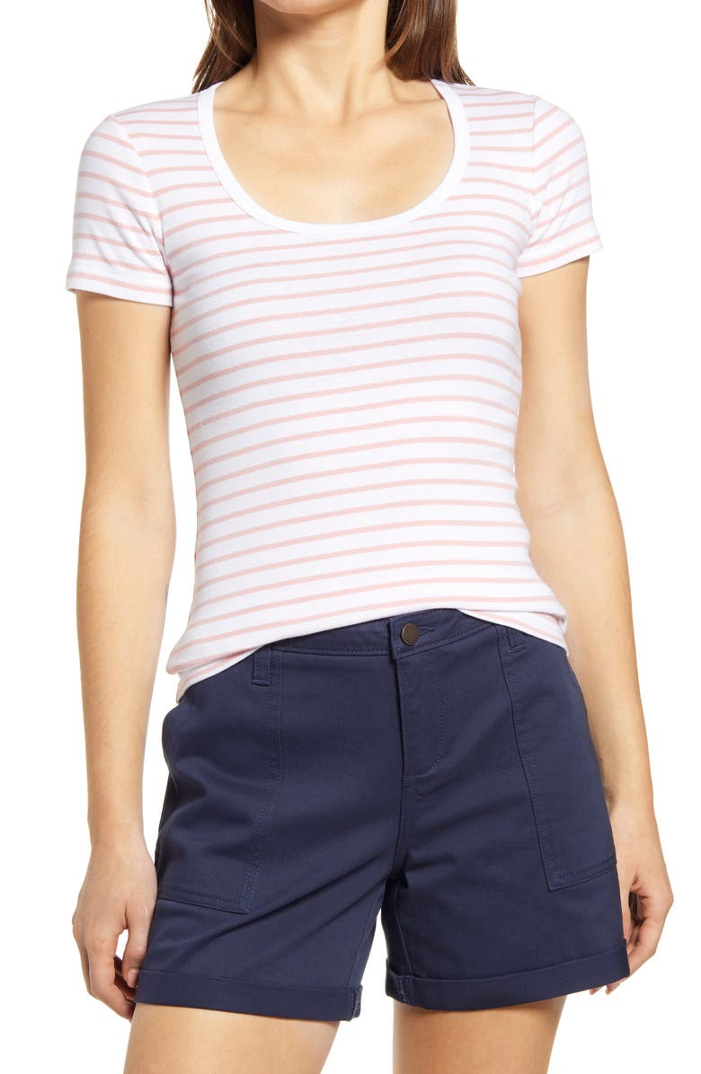 CASLON<SUP>®</SUP> Short Sleeve Scoop Neck Tee, Main, color, 103
