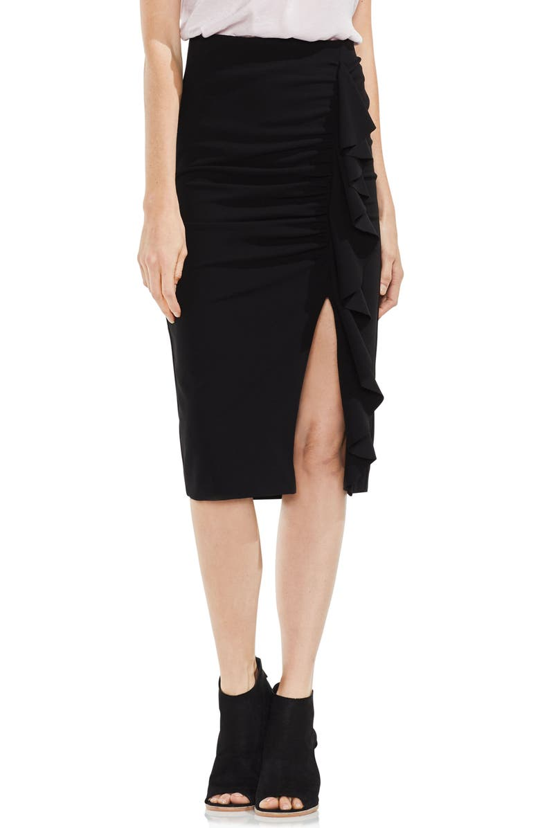 VINCE CAMUTO Front Ruffle Ponte Pencil Skirt, Main, color, 006