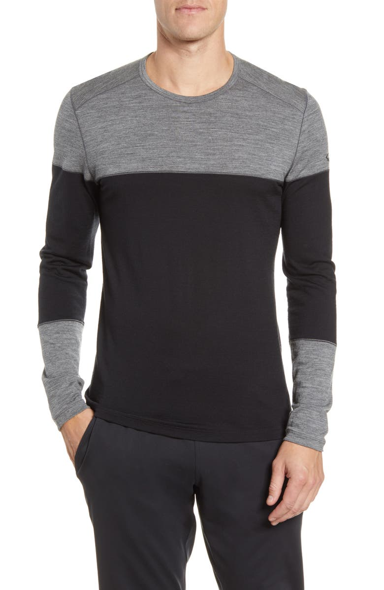 ICEBREAKER 200 Oasis Deluxe Long Sleeve Merino Wool Base Layer T-Shirt, Main, color, 011